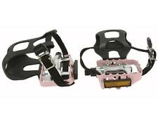 "ROAD MTB Alloy Pedals W/Toe Clips 9/16"" Pink 9/16 pedal.fixie bicycle pedal"
