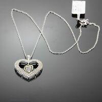 """Mom /& Coeur Rond Danse Diamant Collier Pendentif 18/"""" Chaîne Argent Sterling 925"""