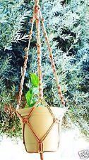Macrame Plant Hanger 40 inch Beaded Button Knot * Cinnamon *