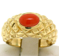 14k Yellow Gold NICE Oval Cabochon Bezel Set Coral Domed Quilted Texture Ring