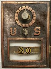 ANTIQUE USPS BRASS PO POST OFFICE BOX NO 20 FONT GOLD LETTERING MAILBOX DOOR IL