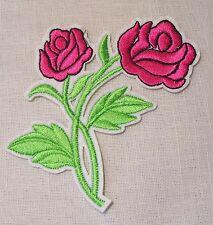 C2335 ** 8 x 11 cm **  APPLIQUE ÉCUSSON PATCH THERMOCOLLANT - FLEUR DOUBLE ROSE