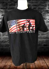 Walt Disney Mickey Mouse All American Usa Flag Patriotic Blue T Shirt medium Euc