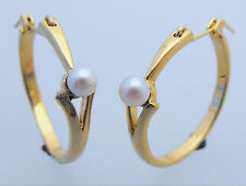 Gold White Shell Based Pearl Set Fashion Hoop Earrings by Creola 22ct Gold Plate