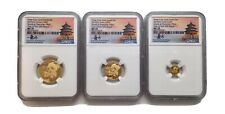 2019 China Gold Panda 3-Piece Prestige Mini Set NGC MS70 First Day of Issue COA