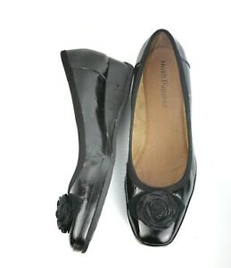 Hush Puppies Size 39 Black Flower Decorated Patent Leather Wonderful Pumps