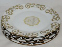Ciroa Luxe Gold Metallic Quality Porcelain Salad Side Plates Set of Four New