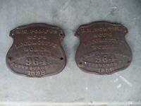 H.K. PORTER LOCOMOTIVE PAIR 1888 #964 NUMBER PLATE SUGAR CANE TRAIN DOCUMENTED