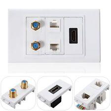 HDMI + 2 RCA + 2 RJ45 Audio Plaque Murale Dual Ethernet Panneau Pr PS3 HDTV DVD
