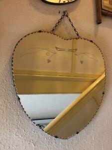 RETRO VINTAGE HEART SHAPED FRAMELESS BEVELLED EDGED ART DECO MIRROR.1950's