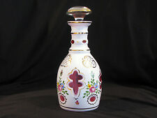 BOHEMIAN CUT CASED GLASS BOTTLE DECANTER w/STOPPER - WHITE TO CRANBERRY RED