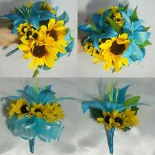 Turquoise Tiger Lily Sunflower Bridal Wedding Bouquet & Boutonniere