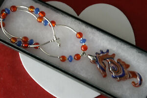 """BEAUTIFUL NECKLACE WITH MURANO GLASS & SEA HORSE 16"""" LONG + PENDANT IN GIFT BOX"""