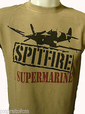 Maglietta T-Shirt Militare Supermarine Spitfire Aereo da Caccia WII Desert FRUIT
