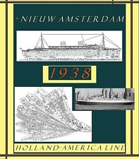 ss NIEUW AMSTERDAM 1938 Holland Amer: Complete Retractable GA Deck Plans/Profile