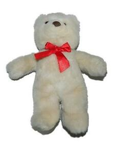 "Gund 11"" Light Tan Beige Teddy Bear Plush Red Bow Stuffed Animal"