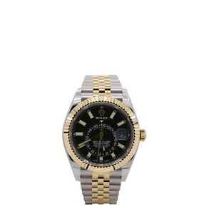 Men's Rolex Sky-Dweller 42, 18k Yellow Gold, Stainless Steel, Black Dial, 326933