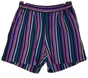 A NEW DAY Shorts Women Small Mid-Rise Linen Pull-On Multicolor Stripe Festival