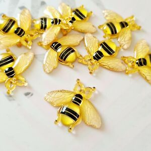 Pack of 10 Bumblebee Flatbacks, Bee Resins for Bow Making, Embellishment, Crafts
