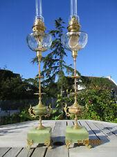 SUPERBE PAIRE DE GRANDES LAMPES A PETROLE ANCIENNES