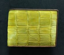 Yellow Genuine Alligator Crocodile Skin Leather Men's Bifold Wallet
