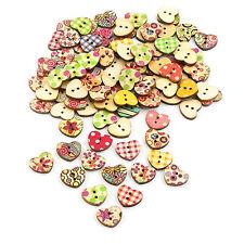 100 Stück Holzknöpfe in Herzen Form Buttons 15mm Nähen Kleidung Deko Basteln