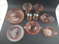 Lot of 9 Pieces Vintage Pink Depression Glass
