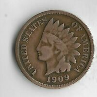 USA Old Antique 1909 US Indian Head Penny Cent Collection Coin LAST YEAR Lot:D12