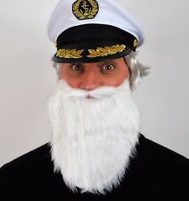 LARGE WHITE BEARD. FANCY DRESS ACCESSORY, REALISTIC. CAPTAIN, WIZARD, GNOME,