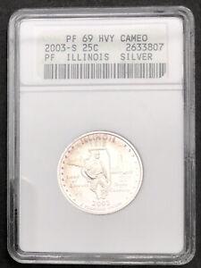 2003 S Washington State Quarter Silver ANACS PF 69 HVY Cameo ILLINOIS #32089