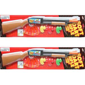 SOFT DART RIFLE SHOTGUN TOY PUMP ACTION KID BOY HUNTER GUN GAME - SET OF 2
