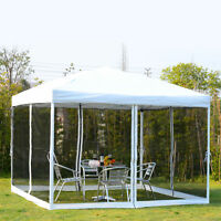 10x10 EZ Pop Up Party Wedding Tent Patio Gazebo Canopy Outdoor Mesh Silver w/Bag