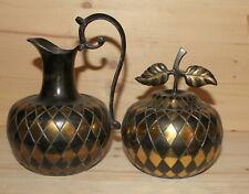 Vintage set hand made metal pitcher and lidded bowl