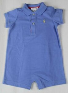 POLO Ralph Lauren Blue One Piece Snap Crotch Yellow Pony NWT