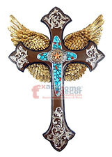 Golden Wings Turquoise Center Star Wall Cross Layered Fleur De Lis Silver Accent