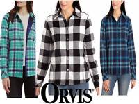 Orvis Women's Fleece Lined Flannel Shirt Jacket Pockets Size 2XL