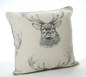 Large Stag Cushion Cover Piped in Natural and Grey Wool Feel