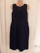 Monsoon size 12 navy fitted dress sleeveless with buttons down chest
