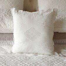 White on white embroidered cushion cover with crochet trim 45 x 45