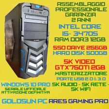 COMPUTER PC FISSO GAMING INTEL Core i5-3470S RAM12GB SSD256GB HDD500GB GTX750-2G