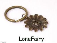 Vintage Bronze Metal Sunflower Keyring Key Chain Garden Flower Summer Sun