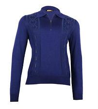 Zilli Men's Indigo Blue Cashmere Silk Polo Sweater Leather Inserts, size 48(S)