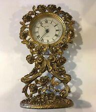 Brass Filigree Ormolu Alarm Clock W/ Roses
