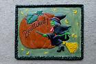 Witch Broom Pumpkin Halloween star moon vintage sign plaque wall decor hanging