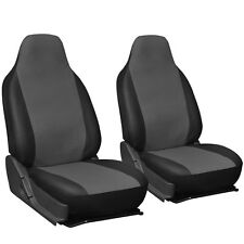 Faux Leather Car Seat Covers Grey Black 2pc Bucket Set w/Integrated Head Rests