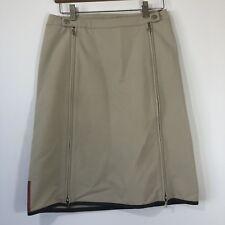 Womens Prada Pencil Straight Skirt Sz 8 Tan Beige Silver Zippers Italy Made