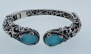 Sterling Silver Carolyn Pollack Southwestern Blue Quartz Hinged Cuff Bracelet