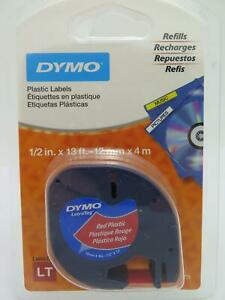 Dymo Letratag Tape Label Black on Red 12mmx4M 91203  91333 GENUINE
