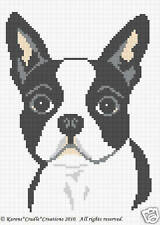 Crochet Patterns - BOSTON TERRIER Graph Afghan Pattern