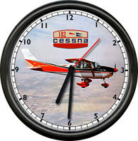 Cessna 182 Red Aircraft Pilot Airplane Flying Personal Aircraft Sign Wall Clock